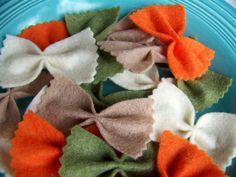 Rainbow Veggie Bow Tie Pasta Farfalle - Felt Play Food - Tomato Plain Spinach Wheat - 24 pieces. $12.00, via Etsy.