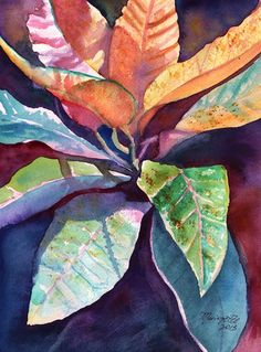 Colorful Tropical Leaves 3 Original Watercolor Painting of Tropical Foliage from Kauai Hawaii by Marionette  orange blue pink purple