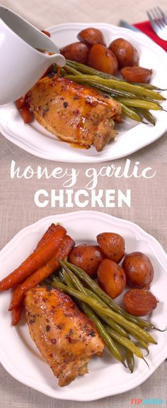 Honey Garlic Chicken Recipe with carrots, green beans & baby red potatoes   Great flavor combination of honey, garlic, chili flakes and soy sauce and love the way all of the veggies get infused with the robust flavor too. And best of all, it can be made in your slow cooker! Click to see how it's made and check-out the crispy-skin variation too. #dinnertime #familydinner #chickendinner #crockpot #recipes #slowcookermeals #easymeals