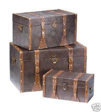 Set of 3 Storage Trunks Brown Tobacco Brass Handles