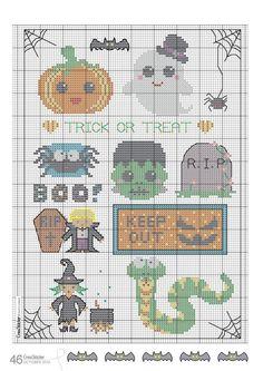 Este es un esquema de punto de cruz con motivos de halloween.