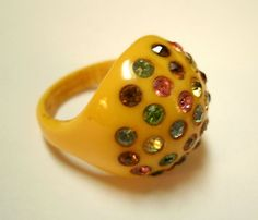 Vintage Butterscotch Bakelite Ring w Multi Color Rhinestones--used to have a ring just like this