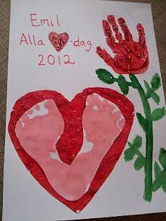 Valentine's day handprint and footprint craft. Valentines For Kids, Valentine Day Crafts, Easter Crafts, Crafts For Kids To Make, Diy And Crafts, Sunday School Projects, Origami, Halloween Kids, Christmas Diy