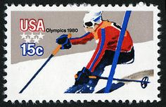 Stamp: Skiing (United States of America) (Olympic Games 1980 - Lake Placid) Mi:US 1264 Commemorative Stamps, Old Stamps, Usa Olympics, Stamp Collecting, Olympic Games, Postage Stamps, Art Lessons, Skiing, Posters