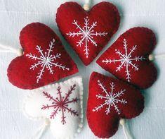 Felt Christmas:  Set of Three Red and White Christmas Heart by AgnesFeltCraft