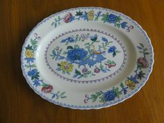 "Masons Regency England Old Colonial Oval Platter Plate 12"" Blue Ironstone"