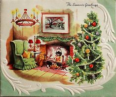 1950's Living Room Scene Fireplace Chandelier Xmas Tree Vintage Christmas Card