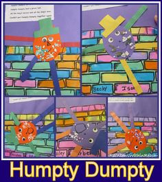 Nursery Rhyme Projects in Preschool: Humpty Dumpty Bulletin Board - decorate cracked Humpty with eggshell pieces