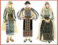 Romania/Muntenia: Folk Costume Main Feature: Two (valmic & zavelca) overlapping aprons or one (valmic) skirt-like apron . Folk Embroidery, Learn Embroidery, Embroidery Designs, Popular Costumes, Medieval Clothing, Fashion Art, Womens Fashion, Folk Costume, Mannequins