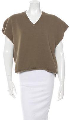 Étoile Isabel Marant Fray-Trimmed Sleeveless Sweatshirt Hoodies, Sweatshirts, Isabel Marant, Olive Green, V Neck, Stylish, Sweaters, Tops, Women