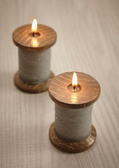 Grey Cotton Bobbin Candle. This unusual grey cotton bobbin candle features a vintage wooden bobbin wrapped with grey cotton and all made from wax! This would make a wonderful gift for the keen sewer, or for your lovely Mum (or Dad)to say thanks for all those alterations and re-attached buttons over the years! £4.95