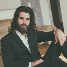 Luca Sguazzini - Photo by Marco Cavallari suit hair beard men Style , click now for more info. Beard Styles For Men, Hair And Beard Styles, Long Hair Styles, Haircuts For Long Hair, Haircuts For Men, Hairstyles Men, Braid Hairstyles, Wedding Hairstyles, Haircut Men