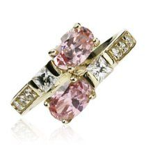 10Kt. Gold Toe Ring With 2-Pink Oval Cubic Zirconia