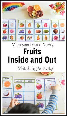 Fruit inside out matching activity for kids #homeschool #teacherspayteachers #printables #fruits #spring #summer #autumn #montessori #kidsactivities