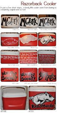 Steps for painting a Razorback cooler! love it but will let someone else do it for me!