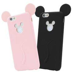 Cute Candy Colors Colorful 3D Soft Mickey Mouse Ear Silicone Cartoon Phone Case for iphone 6 6S 6Plus 6s plus for iPhone 7 Cover