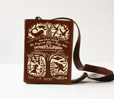 This bag is made by hand in a shape of a book. Inspired by Grimms Fairy Tales.