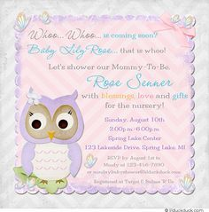 Nursery Owl & Butterfly Chevron Shower Invitation - Use any colors you wish along with personalized wording & graphics for your love-filled shower card!