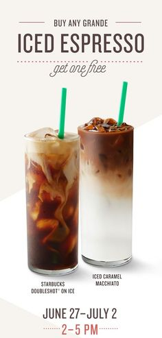 From 2 to 5 pm, Starbuck is offering buy any Grande Ice Espresso and get one FREE for a limited time. The free beverage must be of equal or lesser value. Food Poster Design, Menu Design, Food Design, Design Posters, Coffee Poster, Coffee Menu, Cafe Posters, Food Posters, Drink Menu