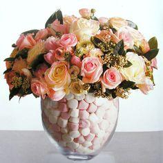 Paula Pryke Pink Flowers in Marshmallow jar