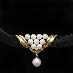 Vintage-Pearl-Diamond-Chocker-Necklace-in-18k-Yellow-Gold