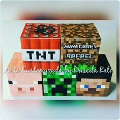 Caixinhas cubos 5x5cm! Festa Minecraft do Rafael! Orçamento por email : artepriscilakato@gmail.com