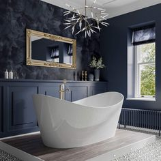 A truly modern yet regal bath. The Trojan Emerald Freestanding Slipper Bath is simply divine. Create your own dream bathroom today. Master Bathroom Tub, Navy Bathroom, Family Bathroom, Modern Bathroom, Small Bathroom, Bedroom With Bathtub, Gothic Bathroom, Victorian Style Bathroom, Bathroom Tubs