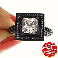 2.8 Ct Princess Cut White Natural Diamond 14K Gold Over Half Black Halo Ring by JewelryHub on Opensky