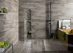 Interior, Cool Dark Grey Wooden Floor And Wall Tiled Room With Green Accents: Tile And Wood Flooring Ideas