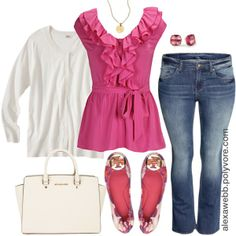 #plus #size #outfit Pretty in Pink - Plus Size by alexawebb on Polyvore