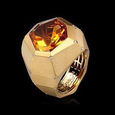Mousson Atelier, collection Geometry, ring, Yellow gold 750, Citrine 6,9 ct., Diamonds