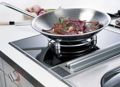 Gaggenau Appliances line of Vario cooktops consists of two ranges of modular cooktops – the 200 series which are mainly wide and 400 series [. Custom Kitchens, Cool Kitchens, Induction Stove, Gas Stove Top, Cool Kitchen Gadgets, Pan Set, Butler Pantry, How To Cook Pasta, Food Preparation