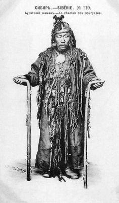 Siberia | Buriat shaman | Vintage postcard. ca. 1911