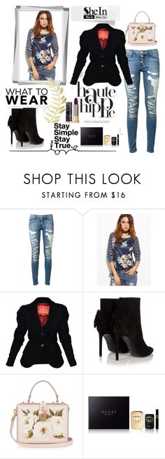 """""""SheIn"""" by armsdani ❤ liked on Polyvore featuring Haute Hippie, Hudson, Vivienne Westwood, Yves Saint Laurent, Dolce&Gabbana, Gucci and Urban Decay"""