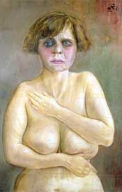 """Title: Semi-Nude  Year: 1926  Description: Maureen Mullarkey described this work as an """"unsettling variation on the effect of postwar deprivation on the socially marginal, particularly women of the red light district."""" The portrait, she says, """"presents a blowzy hermaphroditic figure; a powdered male head sets on a shambling female form."""" Her heavy make-up attempts to mask the truth her body reveals. Life is hard on the down trodden."""