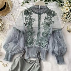 Top Fashion, Womens Fashion, Floral Blouse, Floral Tops, Bikini Dress, Suits Season, Bra And Brief Sets, Lace Sleeves, Women Swimsuits
