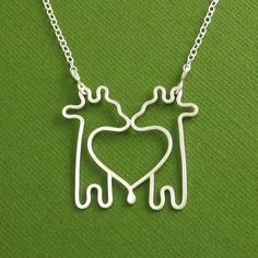 Twin Giraffe Necklace Sterling Silver Cable Chain by Dragonfly65, $65.00