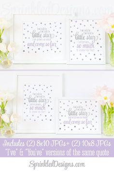 Twinkle Little Star I've Grown So Much Come So Far - Printable Baby Girl Nursery Wall Art Birthday Sign - Lavender Purple Gray Silver Decor - SprinkledDesigns.com