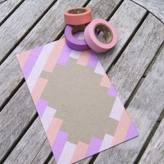 envelope decoration washi tape  ... diagonals .. open space for address ... like the colors chosen with kraft ...