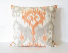 Decorative pillow cover - Throw pillow - Ikat pillow - 22x22- Orange - Light Gray - Same on Both Sides