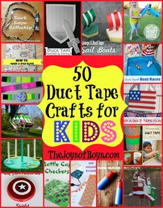 A list of 50 Duct Tape crafts that kids will love. Pictures, links and instructions to make an assortment of fun duct tape crafts. Duct Tape Projects, Duck Tape Crafts, Craft Projects, Craft Ideas, Fun Ideas, Easy Crafts For Kids, Crafts To Do, Summer Crafts, Tape Art