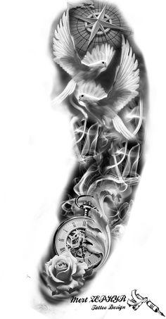 Tattoo Design by mertzephyr - Christmas Design - Tattoo Design by mertzephyr -. - Tattoo Design by mertzephyr – Christmas Design – Tattoo Design by mertzephyr – - Tribal Chest Tattoos, Forearm Sleeve Tattoos, Best Sleeve Tattoos, Tattoo Sleeve Designs, Tattoo Designs Men, Clock Tattoo Sleeve, Half Sleeve Tattoos For Men, Realistic Tattoo Sleeve, Paisley Tattoos
