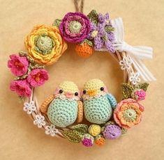 Crochet Spring FLowers and birds Wreath Crochet Cross, Crochet Home, Love Crochet, Crochet Gifts, Crochet Dolls, Crochet Yarn, Crochet Flower Patterns, Crochet Flowers, Crochet Wreath