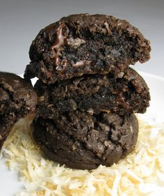 double chocolate-coconut cookies by Vanilla Sugar Blog- i think this is the 6th recipe with coconut i've pinned, but i couldn't help myself :)