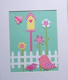 A Place to call Home-Girls Nursery Art Birds Butterflies Flowers Birdhouse by vtdesigns, $14.00
