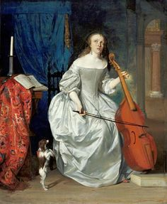 Gabriel Metsu (Dutch, Baroque, Dutch Golden Age, 1629-1667): Woman Playing a Viola de Gamba, 1663. Oil on panel, 17-5/16 x 14-3/16 inches (44 x 36 cm). de Young Museum, San Francisco, California, USA. Metsu is one of the most important Dutch genre painters of the mid-17th century.