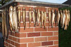 Forellen nach dem Räuchern im gemauerten Räucherofen Outdoor Kitchen Patio, Bbq Grill, Garden, Brown Trout, Home And Garden, Bar Grill, Garten, Barbecue, Lawn And Garden