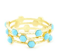 Hammered Bangle Set in Turquoise + Gold