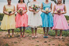 bright bridesmaids' dresses! // photo by Briana Purser // http://ruffledblog.com/sixties-inspired-texas-wedding