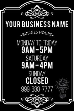 Custom Business Store Hours Vinyl Window Decal 8 x 12 Sticker Sign Glass Door by TheSkinCreator on Etsy Business Hours Sign, Business Signs, Business Names, Sign Templates, Templates Printable Free, Barber Shop Decor, Window Signs, Store Signs, Store Hours